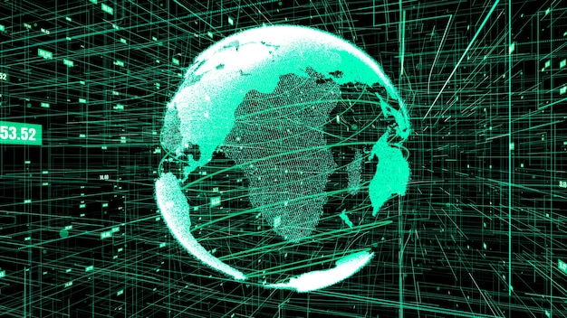 글로벌 온라인 인터넷 네트워크 개념의 3d 그림