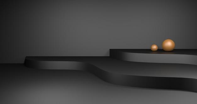 金と暗い表彰台の製品ディスプレイの3 dイラストレーション。ラグジュアリービューティー&ファッションコンセプト