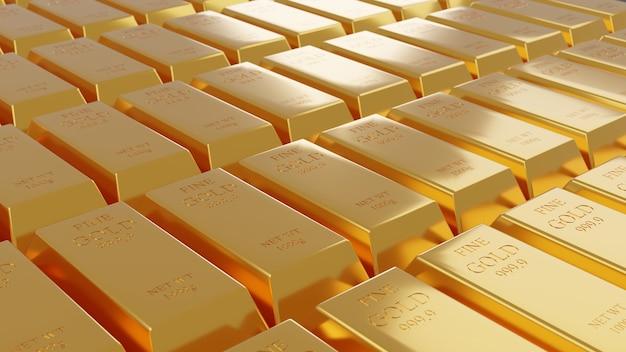 3d иллюстрации рендеринга золотых слитков