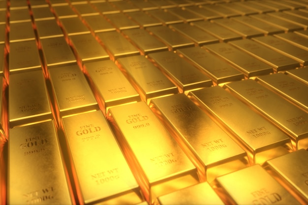 Иллюстрация 3d золотых слитков