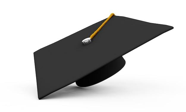 Иллюстрация 3d крышки градации с дипломом. изолированные на белом фоне