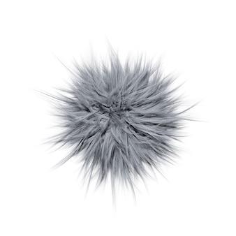 흰색 배경에 고립 된 회색 솜 털 공의 3d 그림