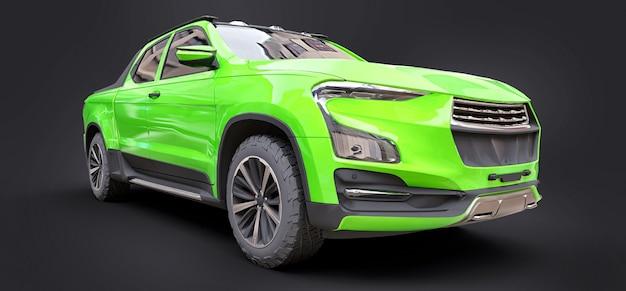 회색 격리 된 배경에 녹색 개념 화물 픽업 트럭의 3d 그림. 3d 렌더링.