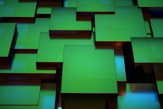 녹색 사각형의 3d 그림입니다. 무작위로 서로 위에 배치된 녹색 사각형. 무광택 녹색 패널. 3d 그래픽, 시각화, 렌더링