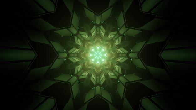 暗いトンネルで万華鏡のフラクタルパターンを形成する緑の対称的な幾何学的図形の3dイラスト