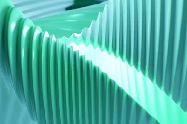 緑の波、洞窟の形状パターンの3dイラスト。登録用カラーステッカーバナー