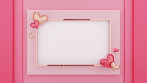 ピンクの背景にフレームとハートの3dイラスト