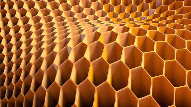 六角形の抽象的なハニカム構造の3dイラスト。六角形のハニカム構造の濃い黄色とオレンジ色の3dレンダリング