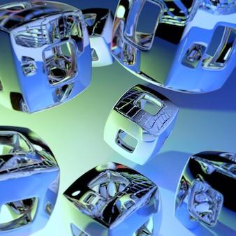 흐림 효과가 있는 녹색 및 노란색 표면에 떠 있는 중공 크롬 큐브의 3d 그림