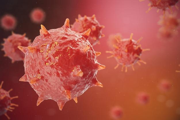 Иллюстрация 3d вируса гриппа h1n1. свиной грипп, заражение организма, эпидемия вирусных заболеваний.