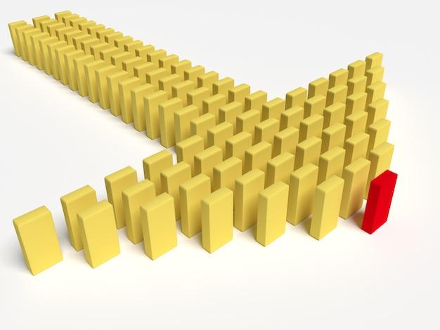 3d иллюстрации лидера ведет команду вперед