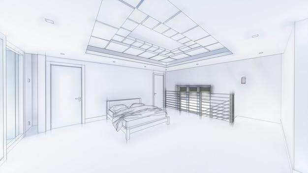 거실과 주방 인테리어 디자인의 3d 그림. 3d 렌더링.