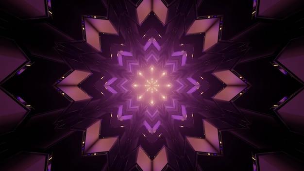 抽象的な背景として暗闇の中でループされた万華鏡の紫色の雪の結晶の形をしたパターンの3dイラスト