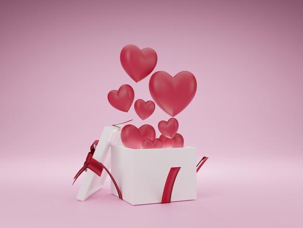 분홍색 배경에 사랑과 발렌타인 데이, 흰색 선물 상자와 붉은 심장 부동의 3d 그림. 3d 렌더링