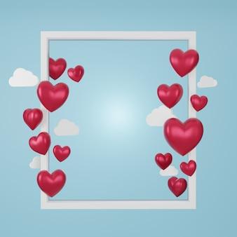 사랑과 발렌타인 데이, 흰색 액자와 붉은 심장 파란색 배경에 플 로트의 3d 그림. 3d 렌더링