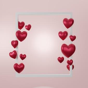 사랑과 발렌타인 데이, 화이트 액자와 핑크 배경에 붉은 심장 부동의 3d 그림. 3d 렌더링