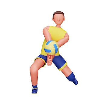 남자 배구 선수의 3d 그림 흰색 배경 위에 공을 안타.