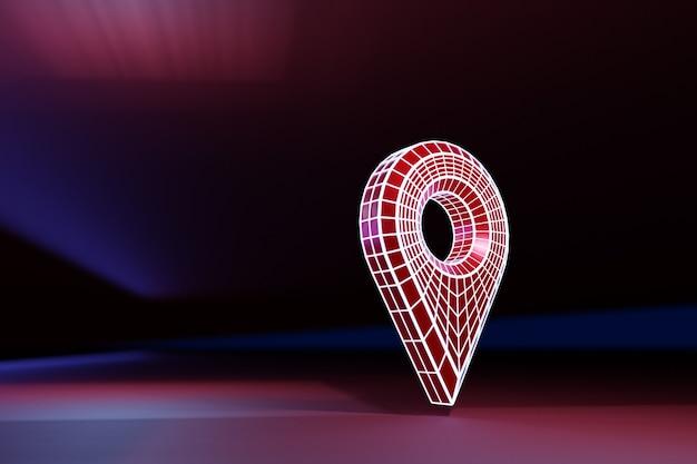 赤い曲がりくねったルートナビゲーションマーカーでgeolacationをマークする3dイラスト