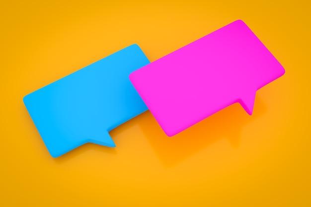 白い背景に未知の集まりと雲の形でメッセージの3dイラスト。会話、チャットのイラスト。交渉と不確実性の象徴