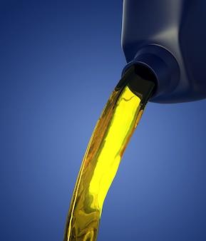 3d иллюстрации литье моторного масла из канистры