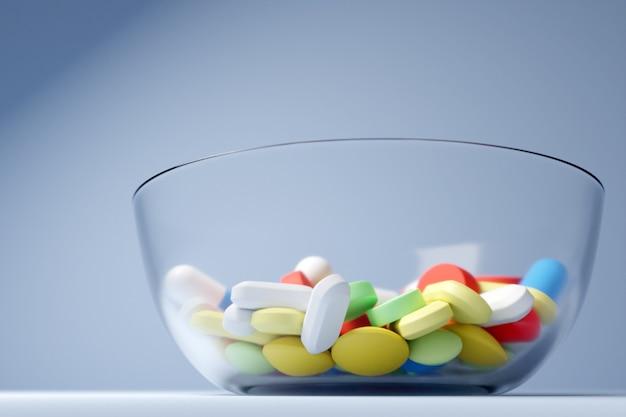3d иллюстрации разноцветных таблеток и таблеток разной формы