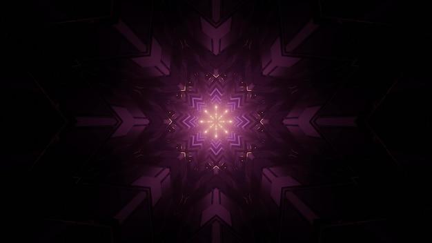 抽象的な背景として暗いトンネルの紫色のライトと多面的な星型パターンの3dイラスト