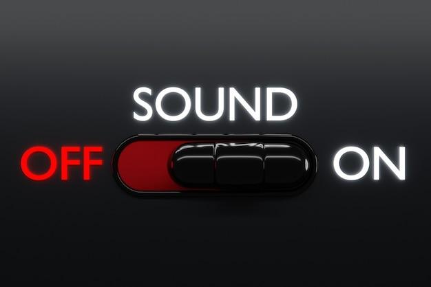 3-я иллюстрация кнопок тумблера включения и выключения с буквами 1 и 2, начальная надпись звуковой знак или символ. музыкальная кнопка концепции. 3d-рендеринг.