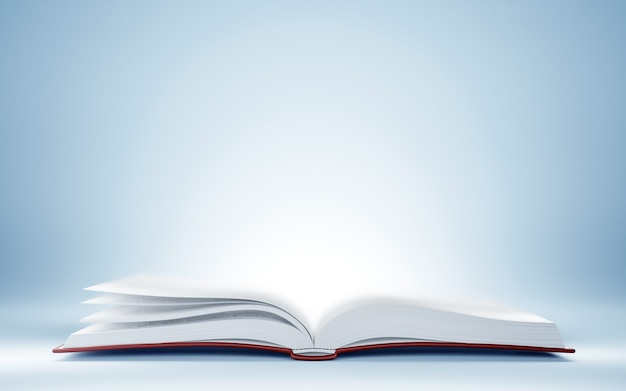 3d иллюстрации открытой книги со светом