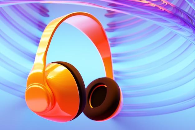 네온 불빛에 파란색 격리 된 배경에 오렌지 복고풍 헤드폰의 3d 그림. 헤드폰 아이콘 그림