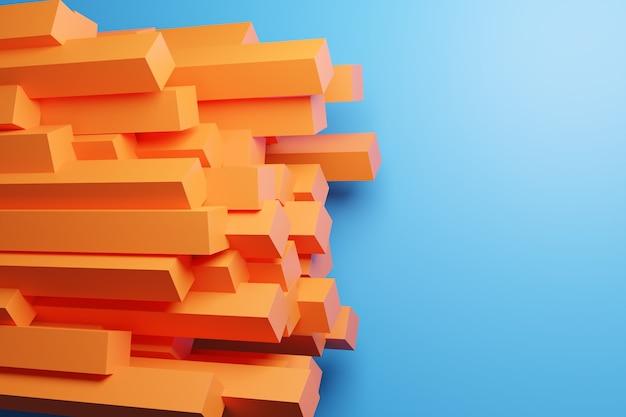 같은 크기의 주황색 줄무늬의 3d 그림이 설정되어 있습니다. 페이딩 라인, 트랙, 하프 톤 줄무늬가있는 기하학적 원활한 패턴