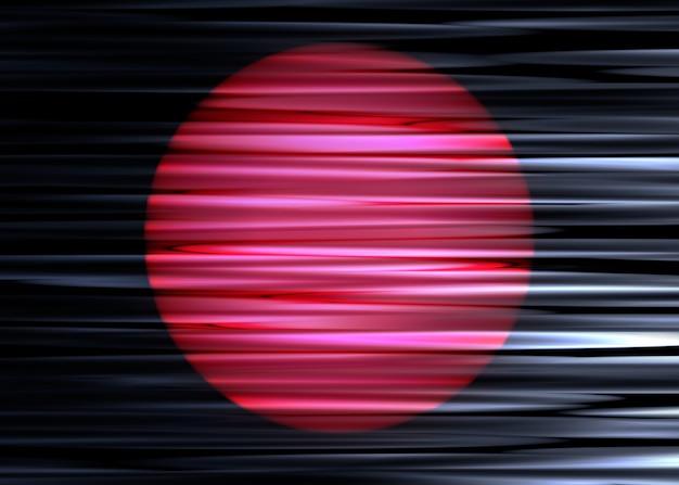 水平方向に波状の黒い布にピンクと赤のグラデーション円の3dイラスト