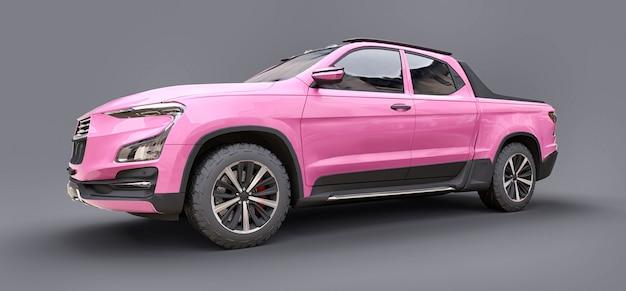 회색 격리된 배경에 분홍색 개념 화물 픽업 트럭의 3d 그림. 3d 렌더링.