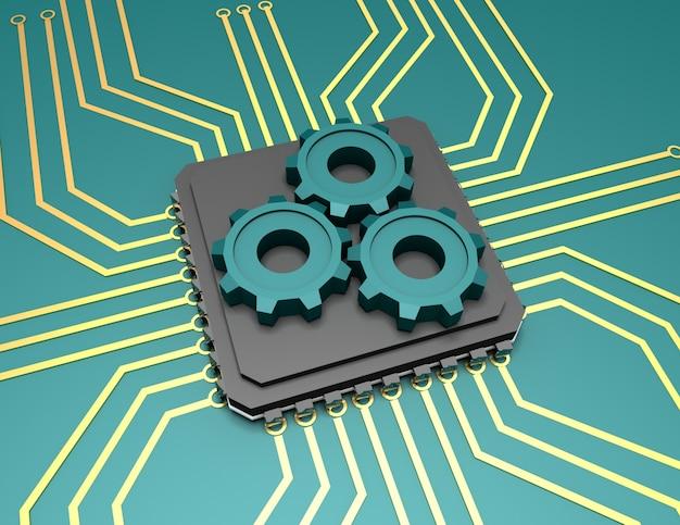 歯車を備えたプロセッサの3dイラスト。レンダリングされたイラスト