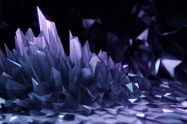 紫色の結晶の3dイラスト、反射と屈折の光の効果。背景のオーバーレイパターン。