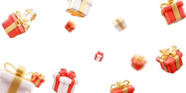 3d иллюстрации дождя из многих подарков из белого золота и красного золота с белым фоном.
