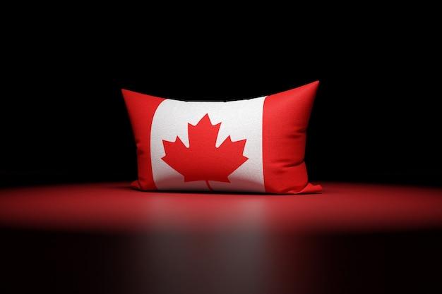 カナダの国旗を描いた長方形の枕の3dイラスト