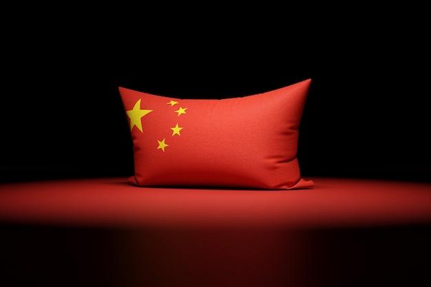 중국의 국기를 묘사 한 직사각형 베개의 3d 일러스트