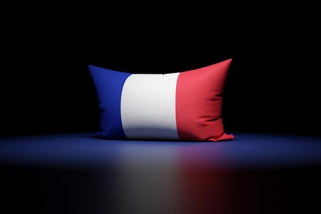フランスの国旗を描いた長方形の枕の3dイラスト