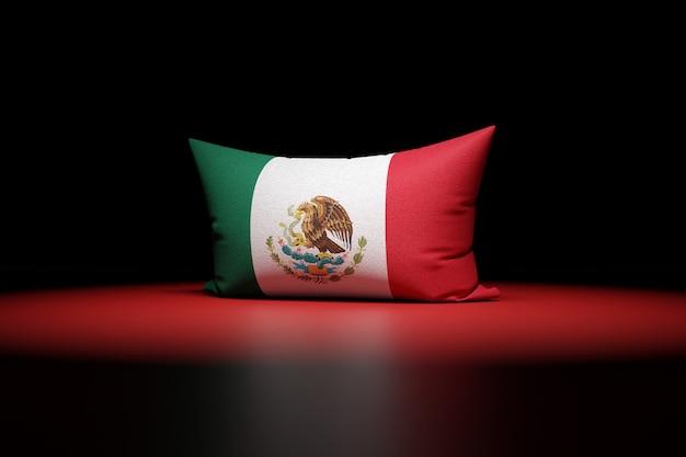 멕시코의 국기를 묘사 한 직사각형 베개의 3d 일러스트