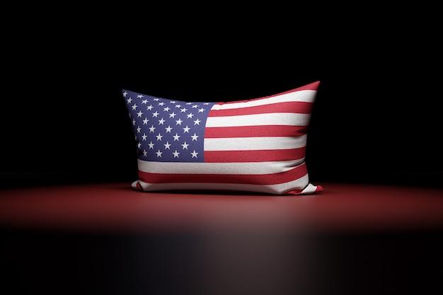 미국 국기를 묘사 한 직사각형 베개의 3d 일러스트