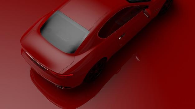 빨간색 균일 한 표면에 빨간색 차량의 3d 일러스트