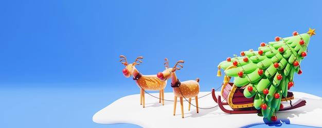 눈 덮인 파란색 배경에 장식 크리스마스 트리와 복사 공간 순록 썰매의 3d 그림.