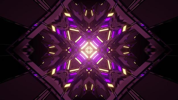 抽象的な背景として暗いトンネルで光る対称ネオン照明と菱形のパターンの3dイラスト