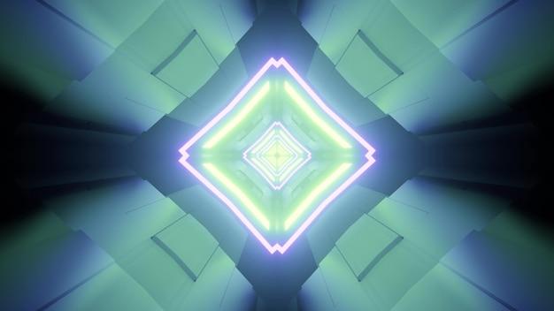 対称的なデザインと青と緑の色で輝くネオンラインを持つ菱形のトンネルの3dイラスト