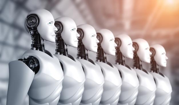 3d иллюстрации группы роботов-гуманоидов
