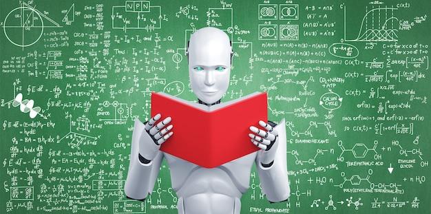 3d иллюстрации робота-гуманоида, читающего книгу и решающего математику