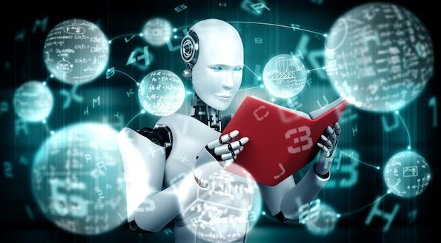 로봇 휴머노이드 책을 읽고 수학을 해결하는 3d 그림