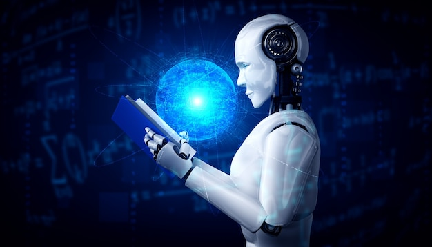 로봇 휴머노이드 독서 책의 3d 일러스트