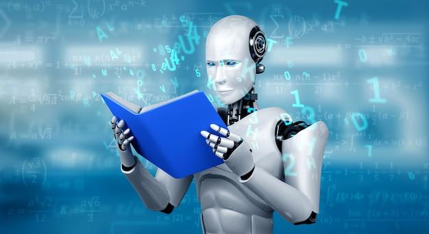 3d иллюстрации робот-гуманоид, читающий книгу