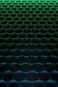 緑のネオンの光の下で黒い円の行の3dイラスト